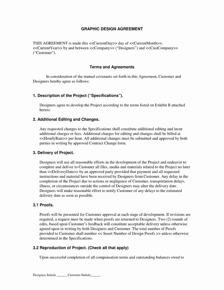 Graphic Design Contract Template Pdf in 2020 Free