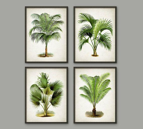 Palm Tree Botanical Wall Art Print Set Of 4 Modern Home Decor Palm Tree