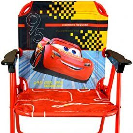 Cars 3 patio chair has colorful character graphics and is great for indoors or outdoors. Sturdy metal tubular construction. Folds for easy storage. Each chair has a safety locking mechanism. No assembly required. For ages 3+ Product Features Folds flat for easy storage Colorful character graphics Sturdy metal construction Washable surface No assembly required