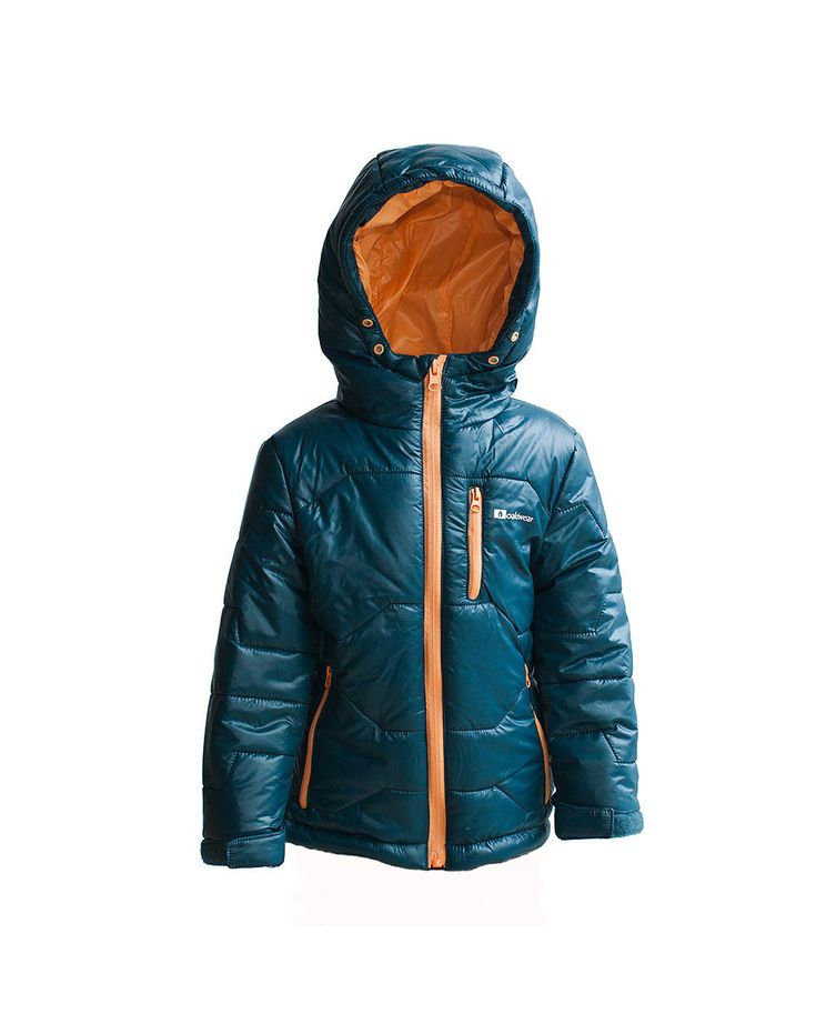 Children's Winter Puffy Jacket, Dark Blue/Orange | Oakiwear - Rain Gear, Kids rain suits, kids waders, kids rain gear, and kids rain coats