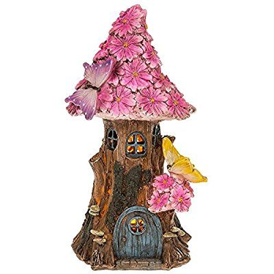Solar Powered Illuminated Fairy House Pink Flower Cottage / Dwelling Garden Ornament