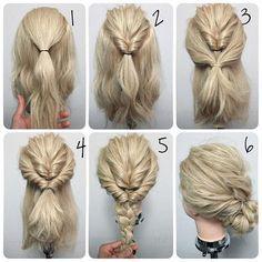 Looks pretty easy...2 topsy tails, braid & wrap