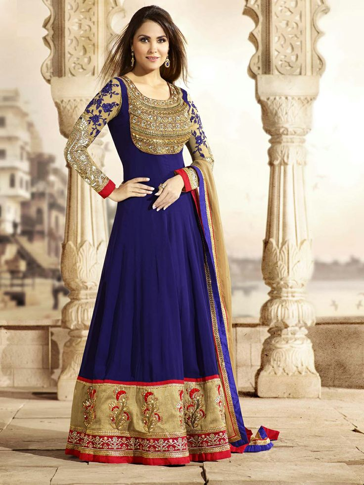 G3 fashions lara dutta navy georgette embroidered floor for Floor length suits