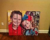 Canvas photo on wood pallet
