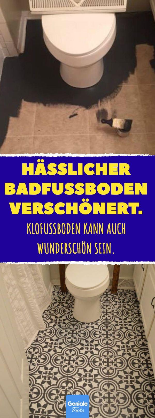 Hässlicher Badfußboden verschönert. #bad #toile…