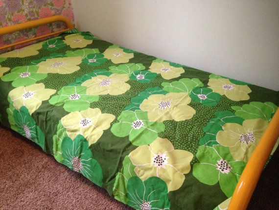 Vintage Green Duvet Green Floral Duvet Cover by YourAuntiesPanties