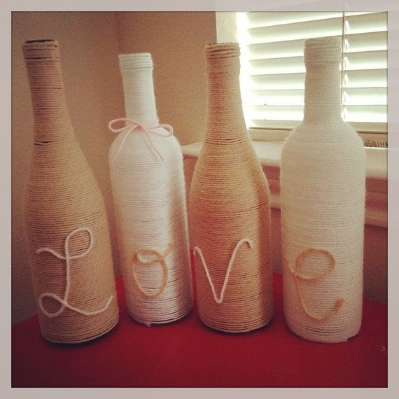 Twine wrapped wine bottle burlap love arts and crafts for Wine bottle arts and crafts