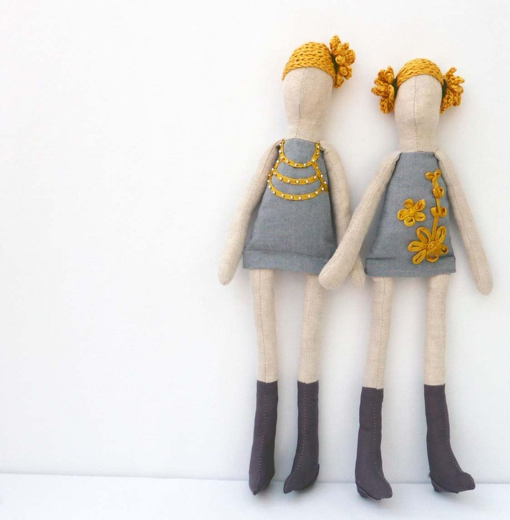 Lovely fabric doll with yellow floral applique by KOOKYhandmade