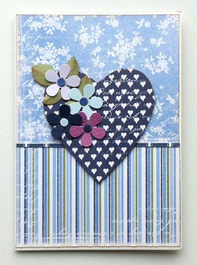 """Tag small card with heart and flowers - Maja design paper #majadesign """"Life in the country"""" - til og fra kort med hjerte og blomster"""
