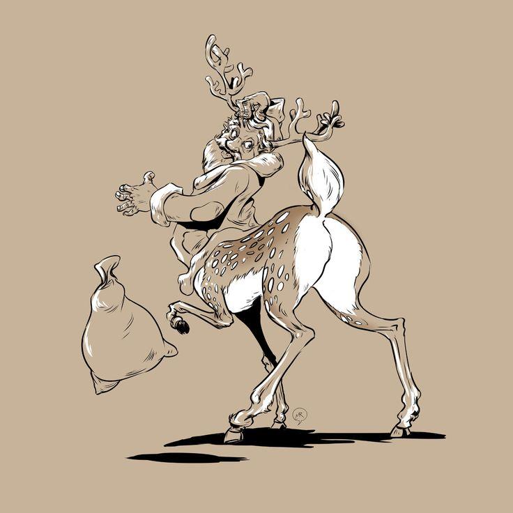 Day 77: Oh my deer!!  #mittroshin #illustration #characterdesign #christmas #santa #deer #newyear