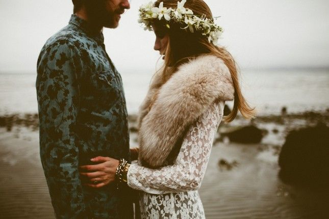 Dress up your engagement photos with a floral wreath.