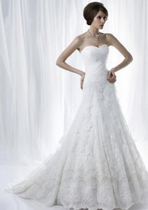 NEW!!! Strapless Aline Low back wedding dress Sweetheart beaded Bridal gown #dq4990