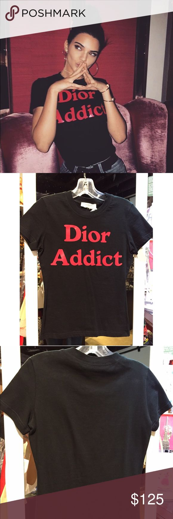 Dior Addict red print on black t-shirt As seen on Kendall Jenner! Dior Addict t-shirt from Christian Dior. Size xs and in great condition Christian Dior Tops Tees - Short Sleeve