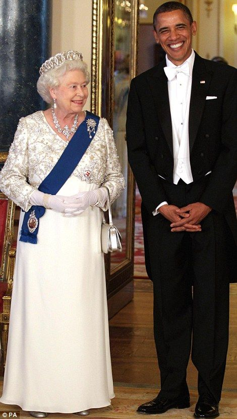 HRH Queen Elizabeth and President Obama  Lovely  white gown