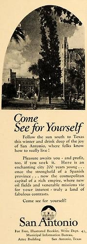 1930 Ad Municipal Bureau San Antonio Texas Tourism Sun - ORIGINAL ADVERTISING