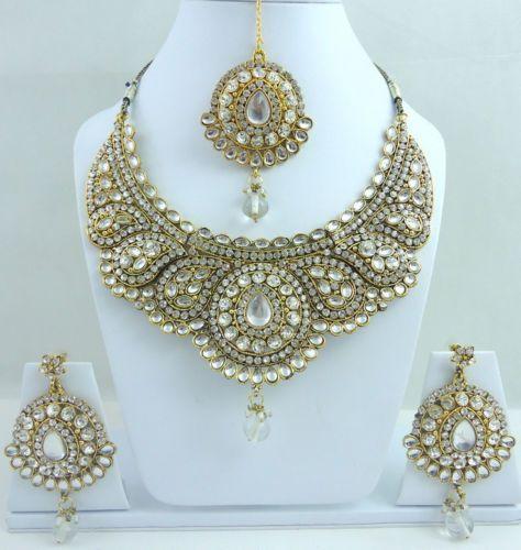 White Kundan CZ Gold Tone Bollywood Necklace Jewelry Set 4 Pcs Free Shipping   eBay