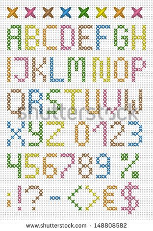 Colorful cross stitch uppercase english alphabet with numbers and symbols. Vector set.