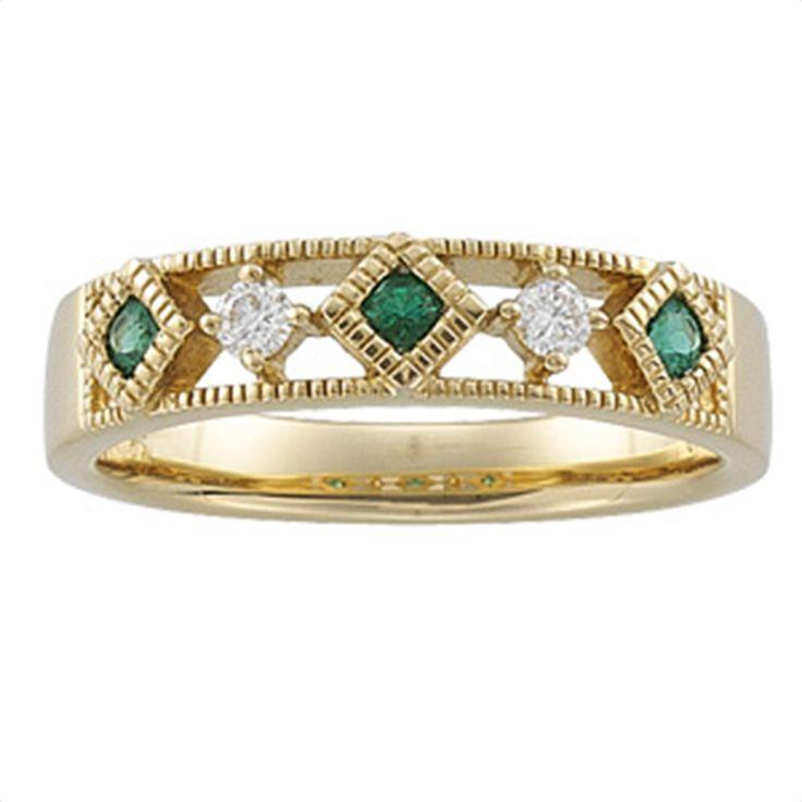 1/10 tdw Emerald & Diamond Anniversary Band Matthew Erickson Jewelers