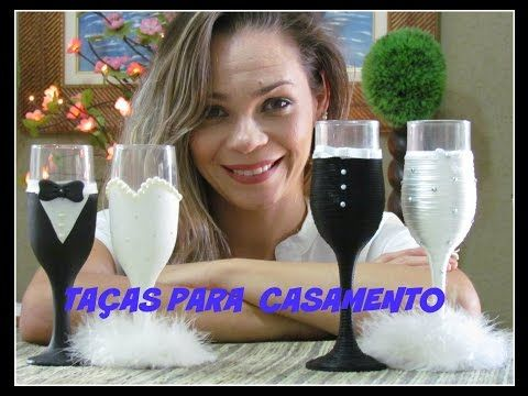 Económica y fácil Decoración para copas de bodas Economical and easy decoration for wedding cups - YouTube