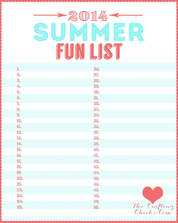 160 Summer Fun List IDEAS and this printable so you can write down your fun list for summer!