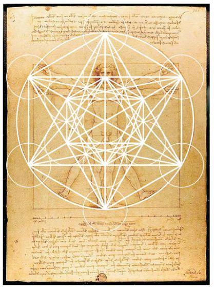 Hombre de Vitruvio Leonardo da Vinci con Cubo Metatrn