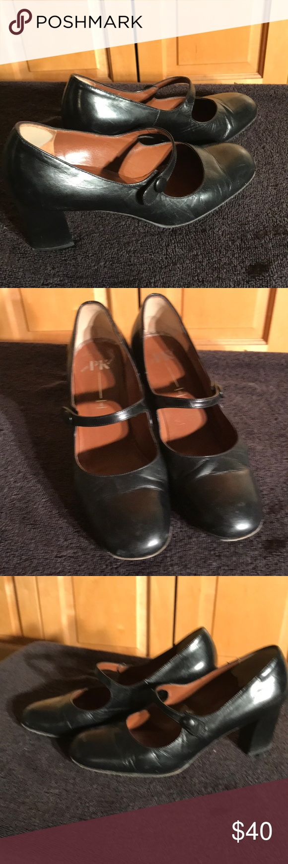 """Black Mary Janes Cute expensive black leather Mary Jane shoes made in Germany by Peter Kaiser. Straps are attached with elastic. Also leather sole. Heels measure 3"""" high. In good used condition. Peter Kaiser Shoes Heels"""