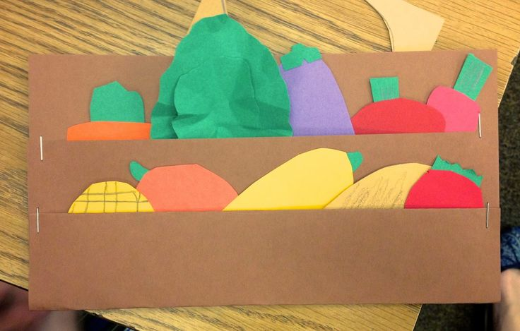 (Eat your vegetables Day) There's a certain way to fold the paper to make a stand but the kids make the vegetables by looking at pics of them. 3rd grade