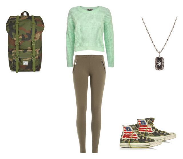 """Camo"" by hayleybanks on Polyvore featuring Emilio Pucci, Converse, John Hardy, Herschel Supply Co. and Pilot"