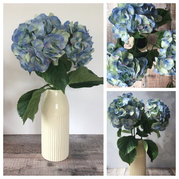 Stunning Arrangement Of Blue Artificial Hydrangea Flowers These Gorgeous Full Blooms Really Do Look Blue Floral Bedroom Hydrangea Arrangements Flower Bedroom