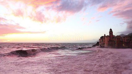 Camogli at sunset with rough sea
