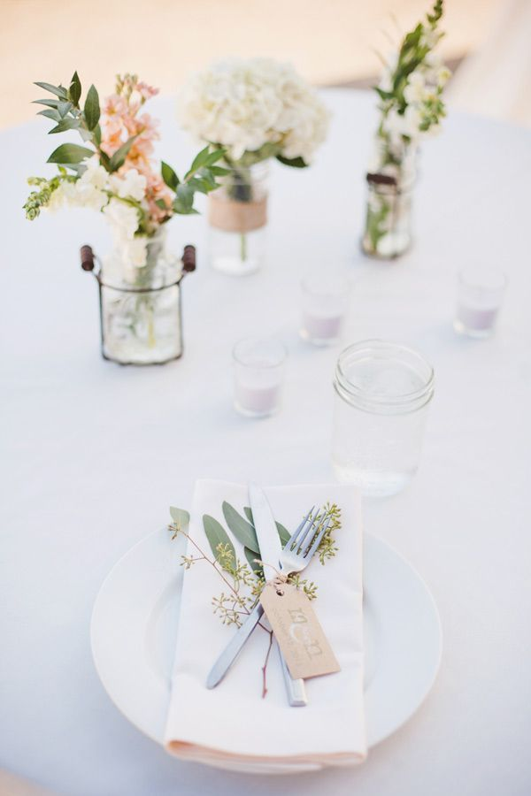 7 Tips for Creating DIY Wedding Flowers on a Budget and I like the simplicity and the floral touches on the place setting