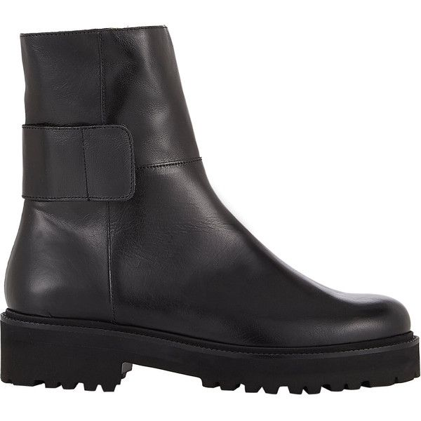 MM6 Maison Martin Margiela Wide-Strap Ankle Boots (194.680 CLP) ❤ liked on Polyvore featuring shoes, boots, ankle booties, black, black bootie boots, black leather bootie, black ankle boots, wide ankle boots and short leather boots