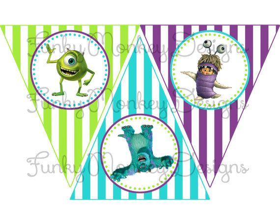 INSTANT DOWNLOAD Diy Monster Inc Inspired party birthday by zsbows, $3.00