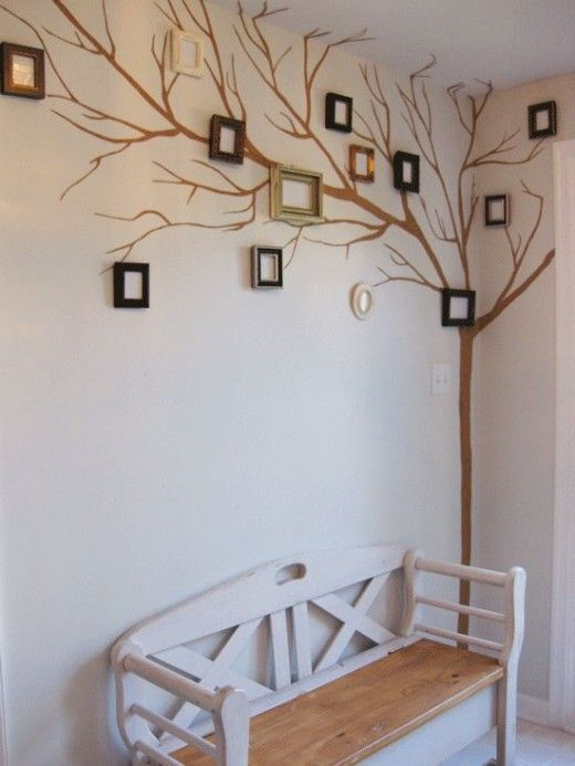 Creative tree wall decor ideas For The Home  Favorite quotes/scriptures in the frames?