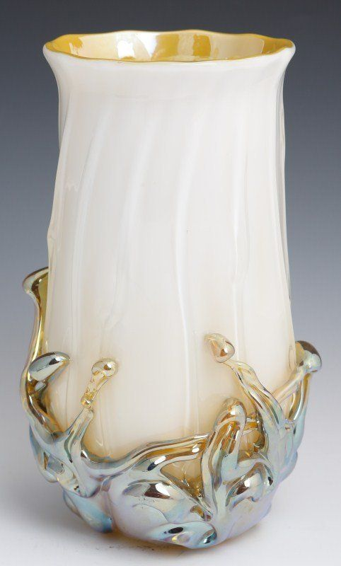 LARGE STEVEN LUNDBERG VOLCANO VASE - an impressive piece featuring a high gloss finish with applied water droplet like designs flowing from the bottom up. It is white with silvery-gold applications. Circa 2002