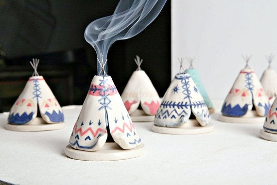 Ceramic Incense Burner TeePee that smokes Blue by JessicaHicklin