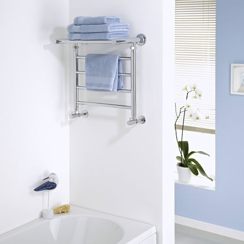 Milano Pendle - Chrome Heated Towel Rail with Heated Shelf 494mm x 532mm