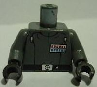 Dark Bluish Gray 973pb1067c01  Lego Torso SW Imperial Officer 4 (Admiral Piett) Pattern / Dark Bluish Gray Arms / Black Hands