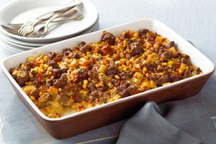 VELVEETA Tex-Mex Beef and Potatoes recipe  - What do you get when you toss together Velveeta, hash browns, beef and veggies? A hearty main with big Tex-Mex flavors. You'll be hoping for leftovers.