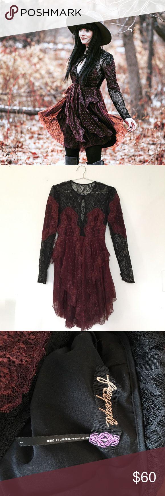 Free People Lace Dress Maroon & Black lace dress from Free People! Free People Dresses Long Sleeve