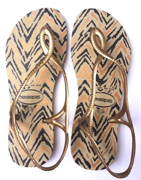 Animal Print Havaianas, Slim, Luna design, with gold straps | eBay