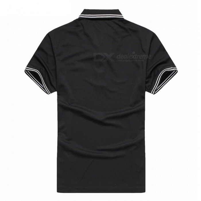 LUCKY SAILING Summer Stripe Quick Dry Men's Polo Shirt - Black (M) - Free Shipping - DealExtreme