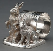 Silver Holloware, American:Napkin Rings, A PAIRPOINT SILVER-PLATED FIGURAL NAPKIN RING . Pairpoint Mfg. Co.,New Bedford, Massachusetts, circa 1875. Marks: PAIRPOI...