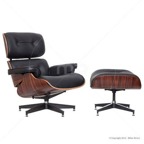 Lounge Chair and Ottoman - Eames Reproduction Black - Premium