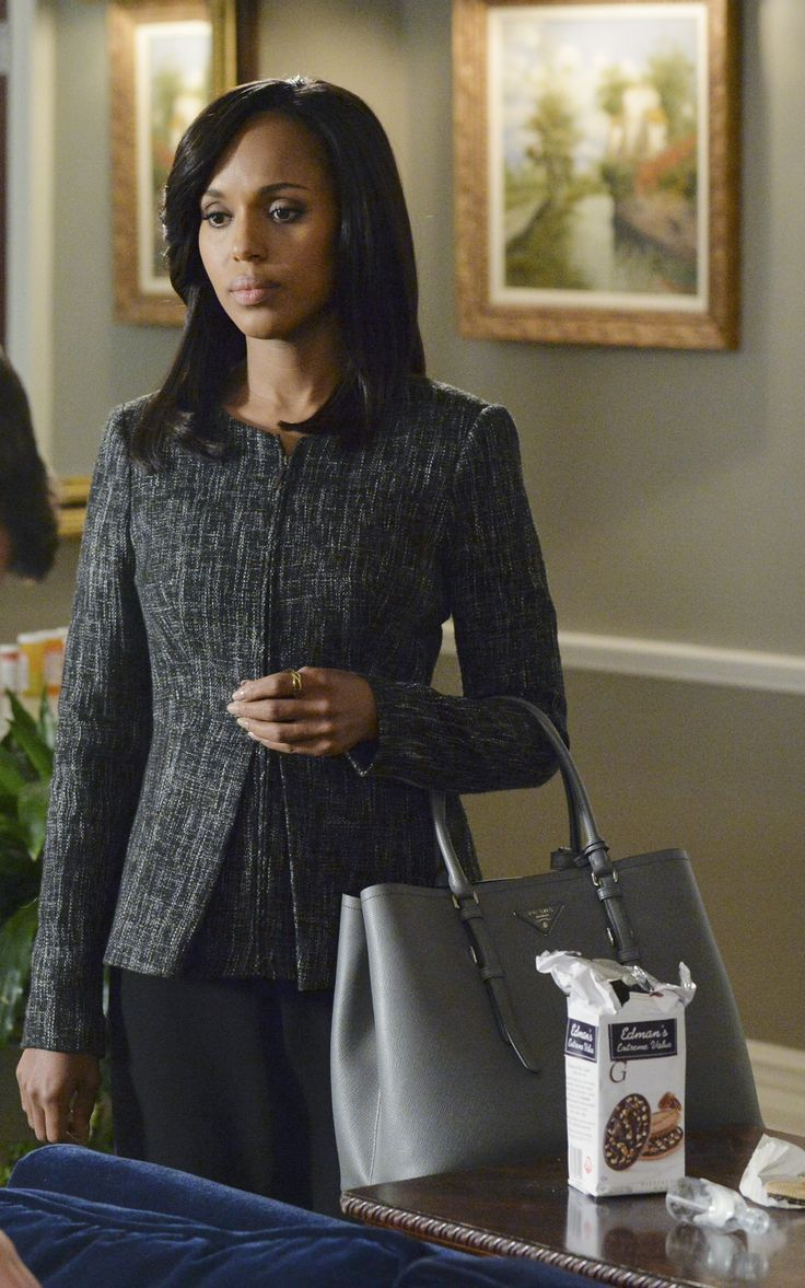 The Limited Fall 2014 Black and white tweed zip front jacket with Prada Saffiano Cuir Leather tote - worn by Olivia Pope (Kerry Washington) on Scandal, season 4, episode 2.
