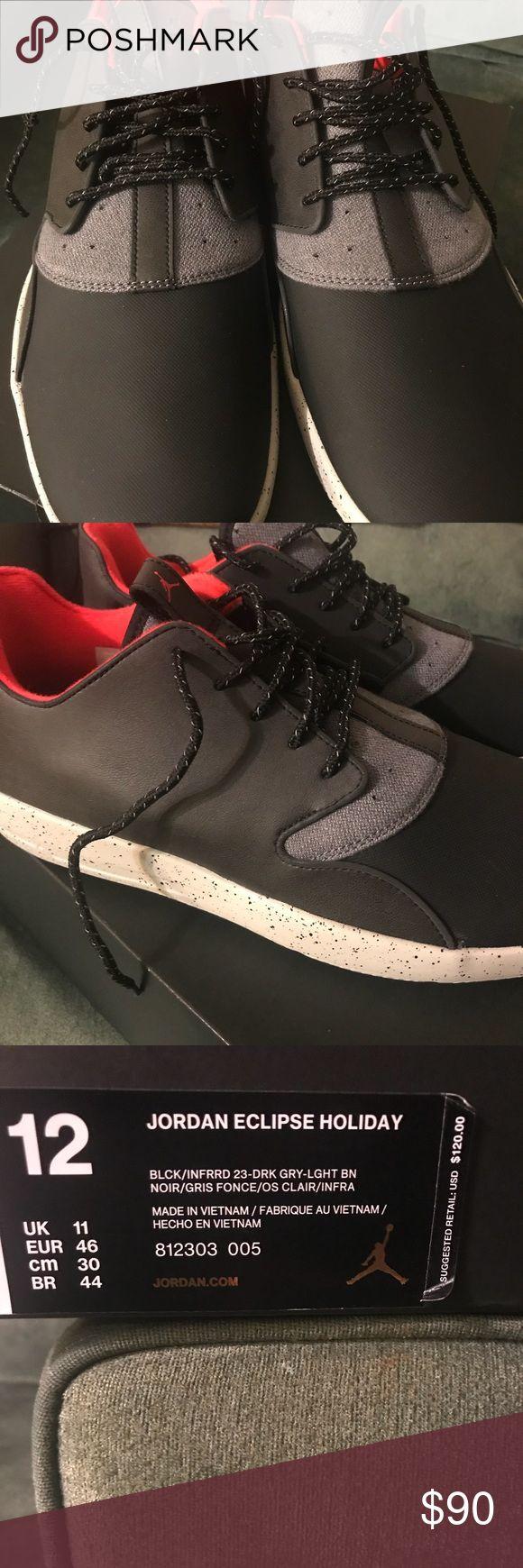 Jordan Eclipse Holiday  Black/Infrrd/Gry Brand New Men's Jordan's Eclipse Shoe Jordan Shoes Sneakers
