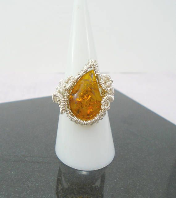 Amber Ring Baltic Amber Wire Ring Amber Wire Wrap Ring
