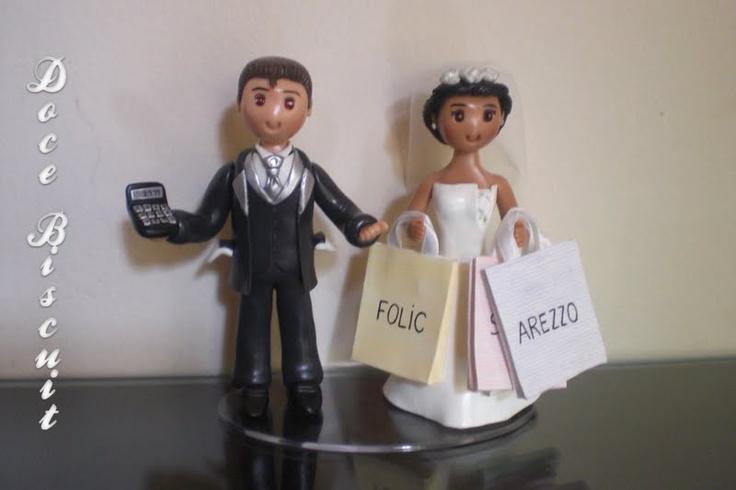Cake Toper, Noivinhos de Biscuit para topo de bolo de casamento. orçamento: doce-biscuit@hotmail.com