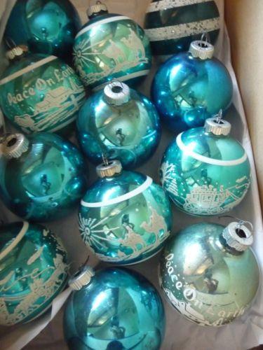 Vintage Shiny Brite Turquoise Christmas Ornaments Star Bethlehem Peace Carriage