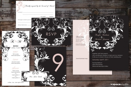 WEDDING STATIONERY SUITE | #BlackAndWhite with Pale Pink Damask Inspired Modern Vintage Graphics